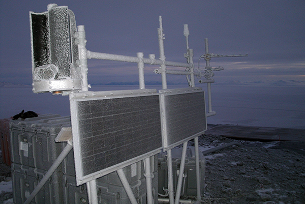 Solar Panels at McMurdo station which power the PolaRx5 GNSS receiver and other equipment