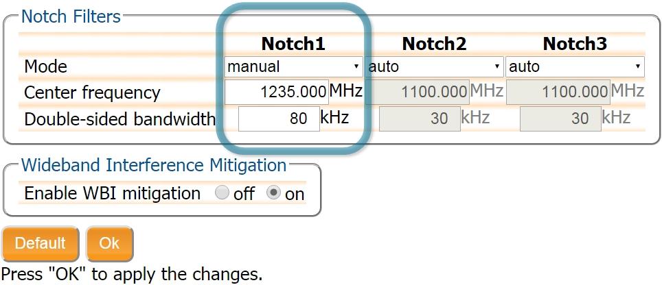 aim+ configure notch filter septentrio