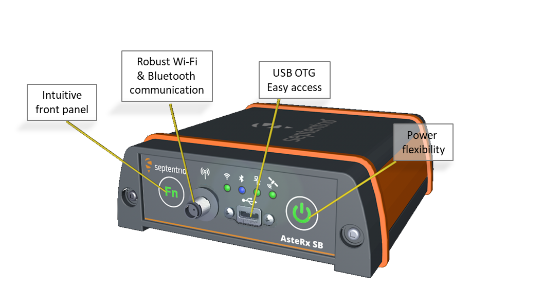 AsteRx SB septentrio GNSS receiver front panel