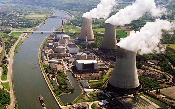 Tihange Nuclear Power Station in the Belgian town of Huy where the inspection of the cooling towers took place