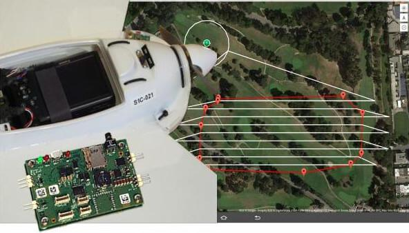 Screenshot of mission planning software, the payload bay of the Smartplanes Freya drone with camera along with the installed Septentrio AsteRx-m UAS GNSS receiver
